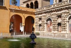 Real Alcazar of Seville gardens Stock Images