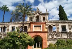 Real Alcazar of Seville gardens Stock Photo