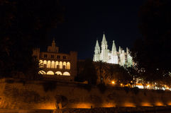Real Almudaina Palace and Cathedral in Palma de Mallorca, Balear Stock Images