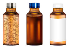 Real amber glass medicine pills bottle Royalty Free Stock Photography