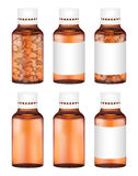 Real amber glass medicine pills bottle Stock Image