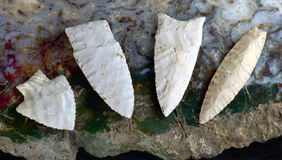 Real American Arrowheads. Paleo midwestern arrowheads made 7000 to 8000 years ago found near Pettis, Missouri Royalty Free Stock Photos