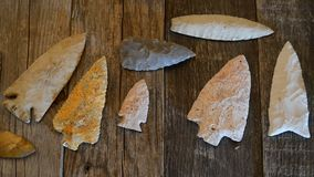 Real American Indian Arrowheads. Real American Indian arrowheads made 6000 to 9000 years ago stock video footage