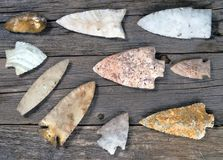 Real American Indian Arrowheads. Real American Indian arrowheads found around Texas, made 6000-8000 years ago Royalty Free Stock Photography