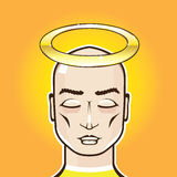 Real Angel Gold ring Holy Person bald headed vector illustration. File eps Stock Images
