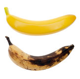 Real and artificial bananas Stock Images