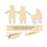 Family, a Mother and Father, Walking with a Baby Stroller. A Family, a Mother and Father, Walking with a Baby Stroller, paper cut with bible verse stock illustration