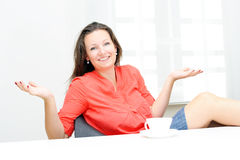 Real attractive businesswoman in her office Stock Photo