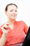Real attractive businesswoman in her office Stock Photos