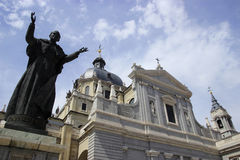 Real Basilica de San Francisco el Grande and a statue of pope in Madrid Royalty Free Stock Photography