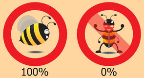 Real Bee And False Bee In Circle. Vector Illustration Stock Photo