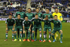 Real Betis lineup. Before a Spanish League match against RCD Espanyol at the Power8 stadium on March 3, 2016 in Barcelona, Spain stock photos