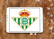 Real Betis soccer club logo. Logo of spanish soccer club Real Betis on samsung tablet stock photos