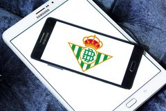 Real Betis soccer club logo. Logo of spanish soccer club Real Betis on samsung mobile stock image