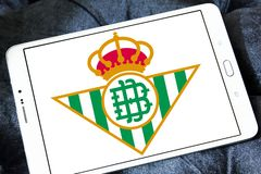 Real Betis soccer club logo. Logo of spanish soccer club Real Betis on samsung tablet royalty free stock photo