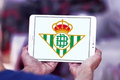 Real Betis soccer club logo. Logo of spanish soccer club Real Betis on samsung tablet stock images