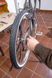 Real bicycle mechanic repairing custom fixie bike. Real bicycle mechanic repairing black custom fixie bike in the workshop stock photo