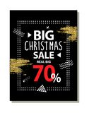 Real Big Christmas Sale Advert Vector Illustration. Real big Christmas sale advert poster on dark background. Vector illustration with special proposition Royalty Free Stock Images