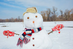 Real big snowman blue sky. Royalty Free Stock Image