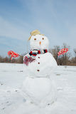 Real big snowman blue sky. Royalty Free Stock Photography
