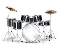 Real black drum set on a white background Royalty Free Stock Photography