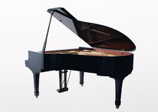 Real black grand piano isolated on white Stock Photo