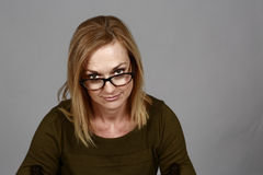 Real blonde woman with glasses Royalty Free Stock Photo