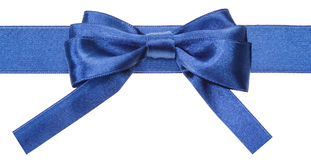 Real blue satin bow with square cut ends on ribbon Stock Photos