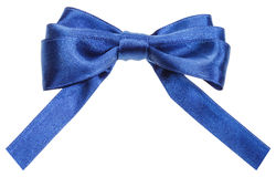 Real blue satin ribbon bow with square cut ends Royalty Free Stock Photos