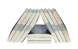 Real books arrange in triangle Royalty Free Stock Image