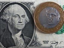 Real brasileño contra dólar de EE. UU. Foto de archivo