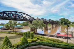 The real Bridge on the River Kwai stock image
