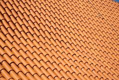 Real bright red roof tile pattern Stock Photos