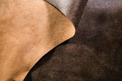 Leather Upholstery and Design - Natural Brown Fabric Royalty Free Stock Images