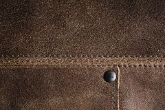Real Brown Leather with Stitching Stock Image
