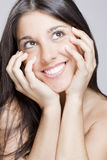 Real brunete young girl. Image of a young beautiful real brunete girl smiling Stock Images
