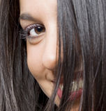 Real brunete young girl. Image of a young beautiful real brunete girl smiling Royalty Free Stock Image