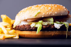 Real burger with potato fries Royalty Free Stock Photo