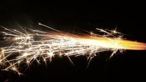 Real burning fireworks over black background 1080p stock footage