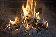 Real burning wood. In the fireplace on a background of brick Royalty Free Stock Image