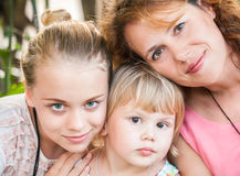 Real Caucasian family, mother and daughters Stock Image