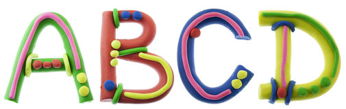 Real Cheerful Plasticine Alphabet Stock Photography
