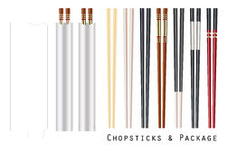 Real chopstick with package on a white background Royalty Free Stock Photo