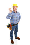Real Construction Worker - AOkay. Authentic construction worker giving the a-okay sign with his fingers.  Full body isolated on white Royalty Free Stock Photo