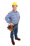Real Construction Worker - Serious. Authentic construction worker with serious expression.  Full body isolated on white Stock Image