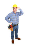 Real Construction Worker - Tips Hat. Authentic construction worker tipping his hardhat.  Full Body isolated on white Royalty Free Stock Image
