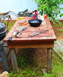 Real cooking master table. In the backyard Stock Photo