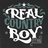 Real country boy t-shirt hand-lettering design Royalty Free Stock Images