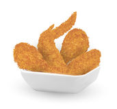 Real 3d fried chicken in a bowl on white background. A real 3d fried chicken in a bowl on white background Stock Images