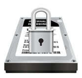 Real 3d internal harddisk storage with a steel master lock protect data Royalty Free Stock Images